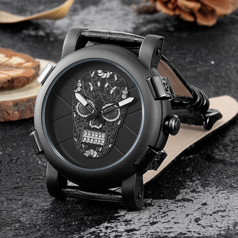 Skone Classic Cool Skull Watches Men Luxury Brand Quartz Wristwatch Casual Style Leather Strap Military Watch Male Clock mens watch top luxury brand fashion hollow clock male casual sport wristwatch men pirate skull style quartz watch reloj homber