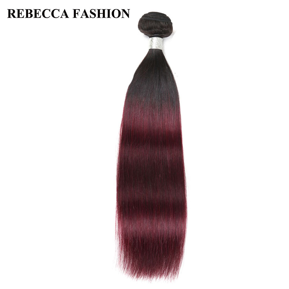 Rebecca Remy Peruvian Straight Hair Bundles 1pc Ombre Wine Red Human Hair Weave Salon Hair T1b99J