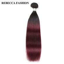 Rebecca Remy перуанские прямые пучки волос 1 шт. Ombre цвет красного вина Человеческие волосы ткань Парикмахерская T1b99J высокий коэффициент длинный pp 40%