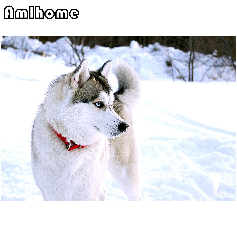 AMLHOME 5D DIY Diamond Painting Sled Dogs Crystal Diamond Painting Arts Crafts Cross Sti ...