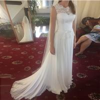 New Arrival Boho Wedding Dresses Jewel Sleeveless White Ivory Chiffon Skirt Vestido De Novia Bridal Dress For Summer Wedding