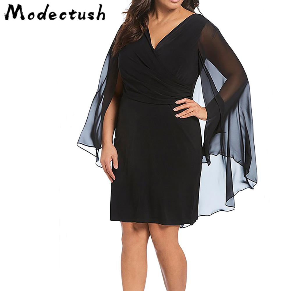 Modecrush Big Size OL Women V Neck Cloak Mesh Sleeves Lace Mini Dress 2019 Summer Office Lady Pencil Short Dresses Work Clothes