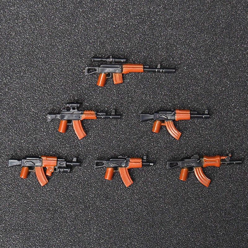 6PCS AK Military Swat Police weapon Guns Figures building blocks brick Figures Compatible legoed toys for children xinlexin 317p 4in1 military boys blocks soldier war weapon cannon dog bricks building blocks sets swat classic toys for children