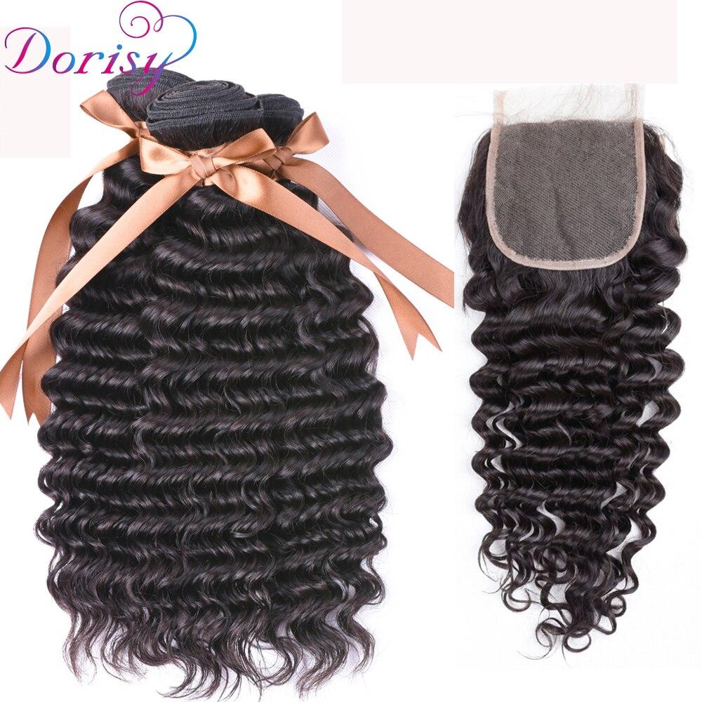 Dorisy волос бразильский глубокая волна Человеческие волосы 3 Связки с 4*4 свободная час ...