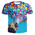 2016 Summer Fashion Designer Divertido 3D Emoji Globos de Colores Impresa Mujeres de la Camiseta Del O-cuello de Manga Corta Harajuku Tee Shirt Tops