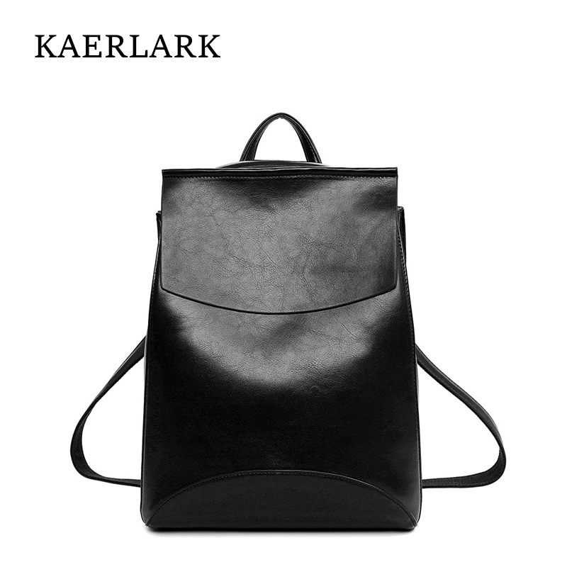 KAERLARK Fashion Women Backpack PU Leather Bagpack High Quality School Girls Female Shoulder Bag Feminina Mochila Oil Wax WS0179