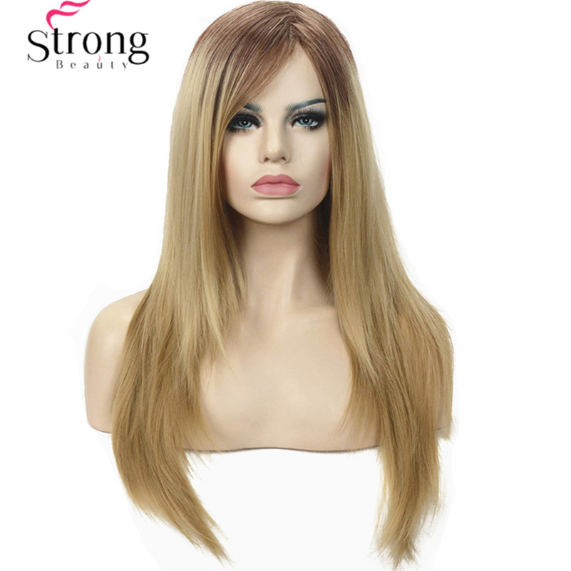 Silky Straight Ombre Two tone Strawberry Blonde Full Synthetic Wig