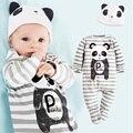 Tampas de Panda Macacão de Bebê Meninos Roupas Set Criança Chapéu One-Pieces Ternos Geral Com Foots Grey Stripe Manga Comprida pijama