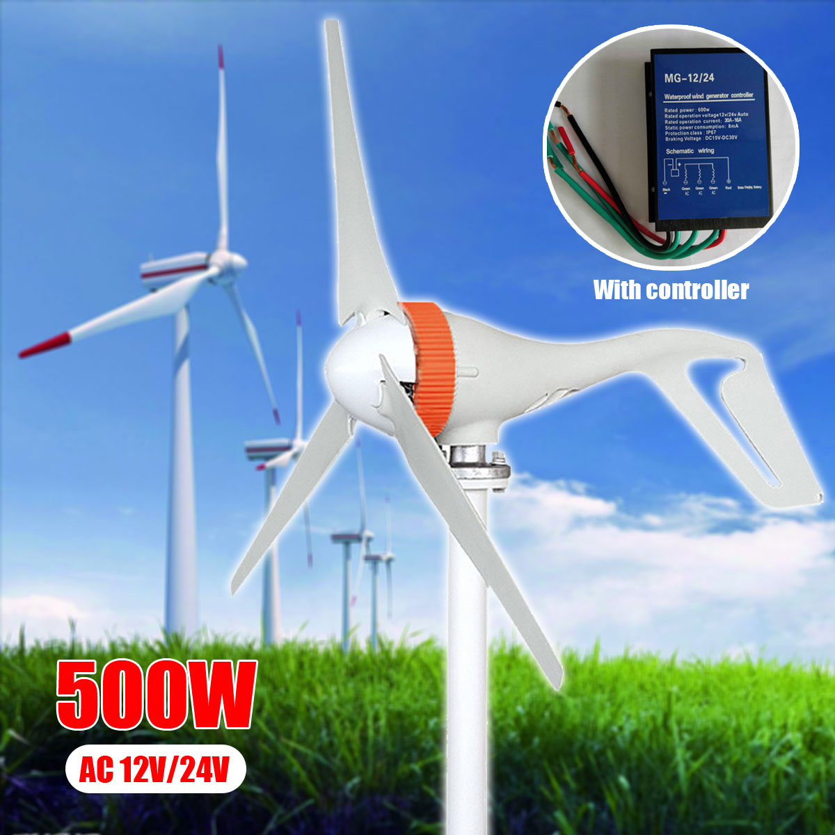AC 12V/24V 500W Miniature Wind Turbines Generator Mini Wind Turbines With Controller 3 Blades Wind Generator for Home Use