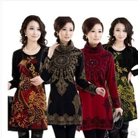 2013 Fashion New Women Sweater FLower Print Vintage Turtleneck Pullover Woman Sweater Dress White Yellow Red