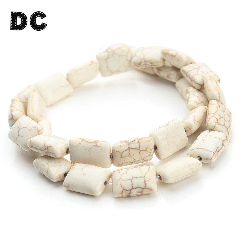 DC Approx.26pcs/Strand Flat Square Stone Beads 10*14mm fit Necklace Bracelet DIY Jewelry Making Components