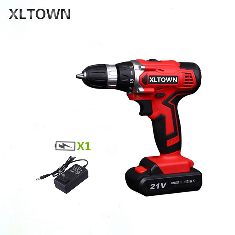цена на XLTOWN 21v electric screwdriver rechargeable lithium battery two-speed electric screwdriver home cordless drill Power tool