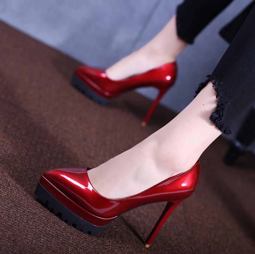 Et Profonde Été rose Peu Nouvelle Peau En Peinture Talon À Chaussures Hauts Noir Amende Bouche Talons rouge Printemps dzUpwEqd