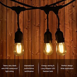 LED Cadena de luz al aire libre, 49.9FT IP65 impermeable 15 unids LED Edison vintage bombillas para jardín patio porche decoración del partido