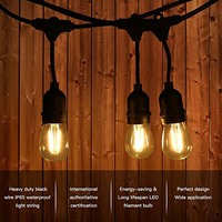 LED Outdoor String Light, 49.9FT IP65 Waterproof 15PCS LED Edison Vintage Bulbs for Garden Patio Porch Party Decoration