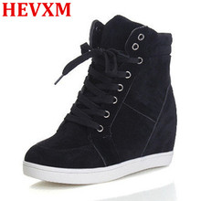 HEVXM 2017 Free Shipping Boots Women High Heel Fashion Shoes Woman Zapatos Mujer Wedges Casual Shoes Frosted Lace Women Shoes(China)