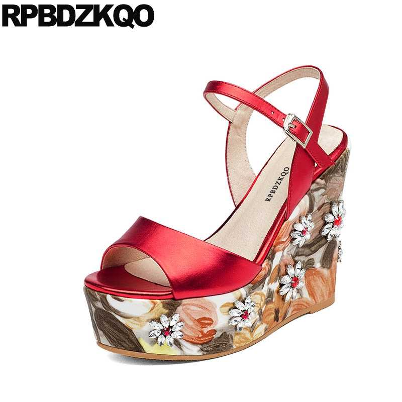 0ac688484a55 Pumps Peep Toe Jewel Wedge Red Shoes Platform High Heels Floral Print  Flower Fetish Women Two