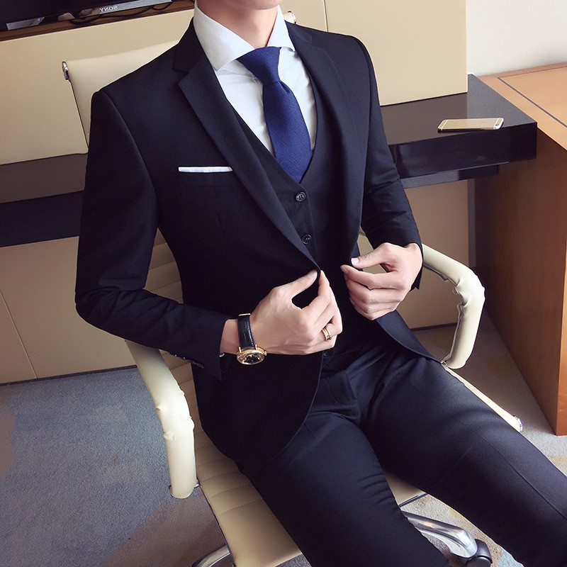 High quality men's fashion Slim suits men's business casual groomsman wedding clothes pants trousers sets drop shipping suit