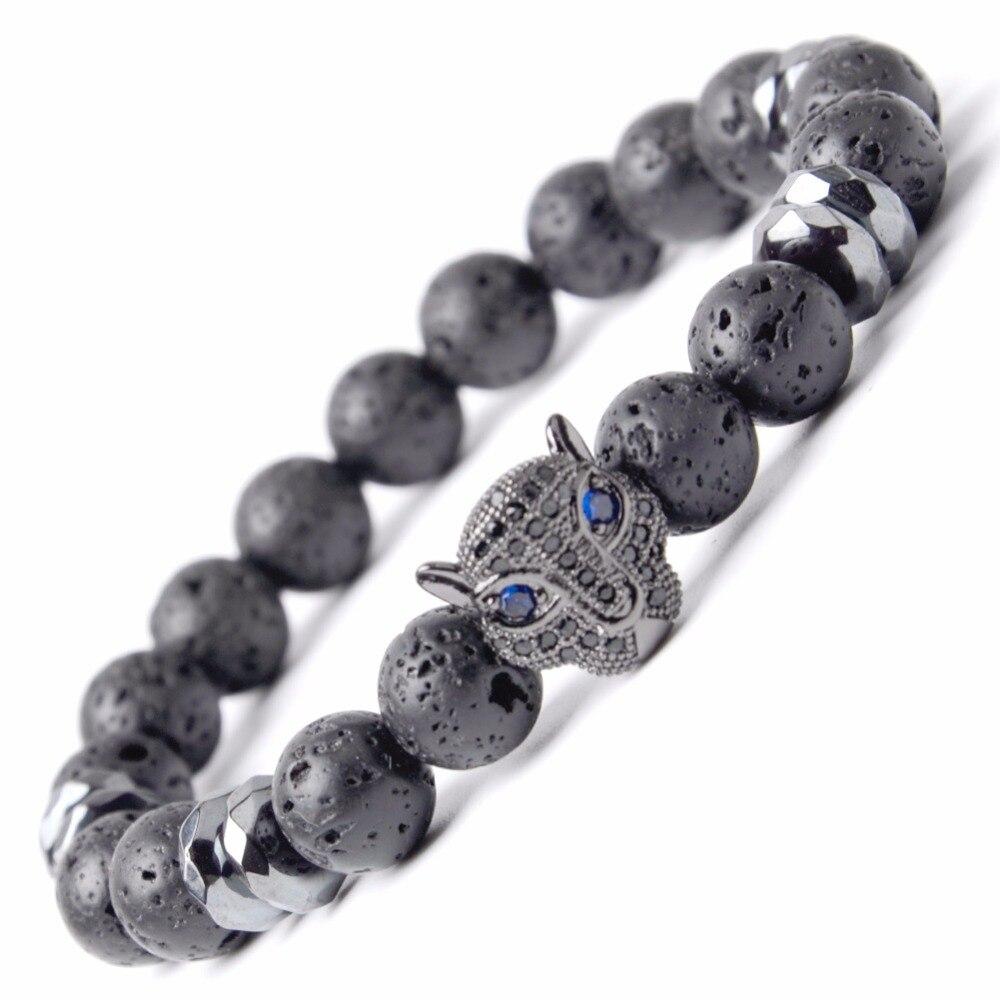 1016ecbb66d5 Moda Piedra Natural negro lava Pulsera hombres Cz Leopard encanto pulseras  brazaletes para las mujeres Yoga Pulsera Hombre