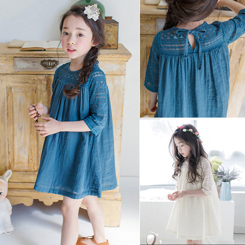 Princess Girls Dress with Lace 2018 Summer Fall Kids Girls Cotton ...