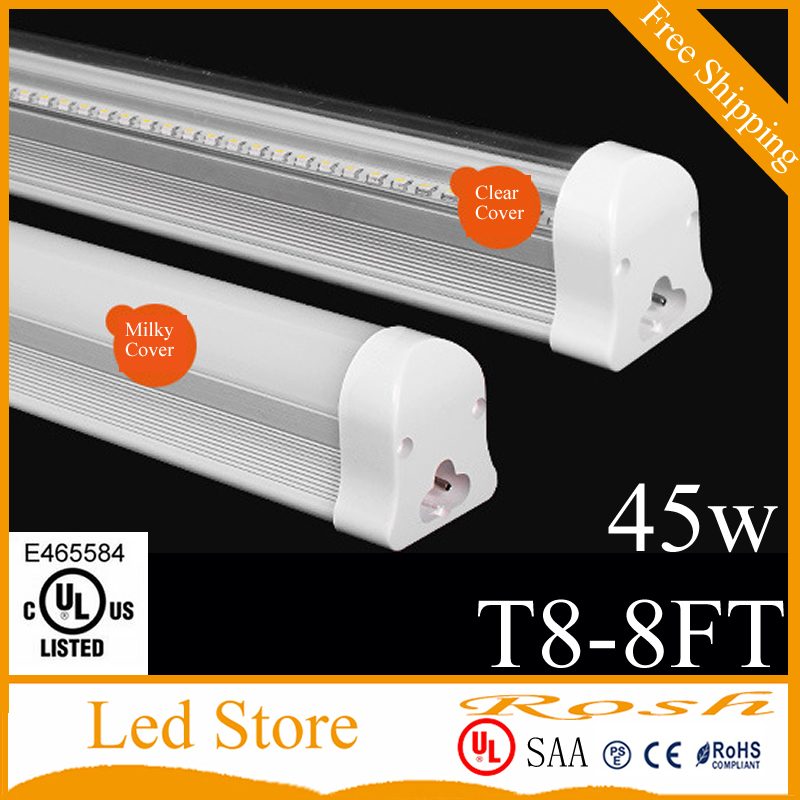 New T8 integrated 8ft(2.4m) 45W led tube bulb with accessory ceiling fixture surface mounted lighting led lamp AC85-265v 4300lm