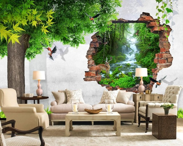 3d carta da parati natura albero uccello muro di mattoni for Carta da parati muro mattoni