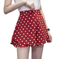 Loose Fashion Black Red Female <font><b>Shorts</b></font> 2018 High Waist <font><b>Shorts</b></font> Women Summer Ruffles Elastic Waist Polka Dot <font><b>Shorts</b></font> Plus Size XXXXL