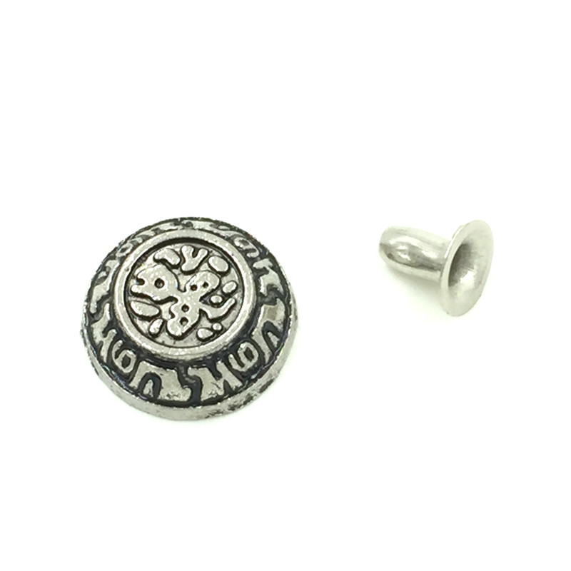 30Sets Antique Silver Tone Round Carved Pattern Garment Rivets Spike Studs Spots 12x7mm