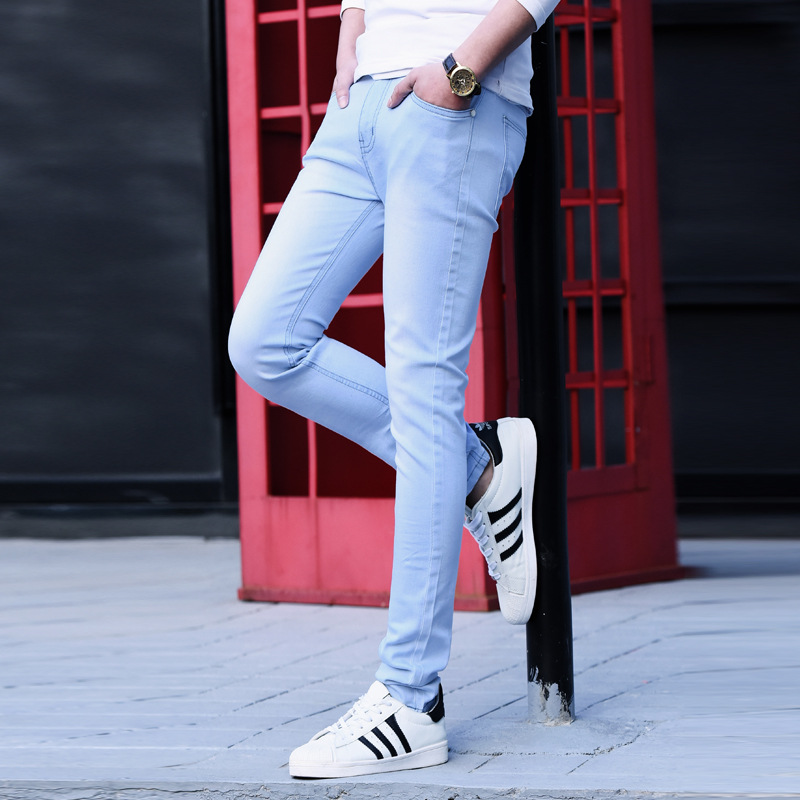 2018 Men Stretch   Jeans   Fashion white Black Denim Trousers For Male Spring And Autumn Retro Pants Casual Men's   Jeans   size 28-36