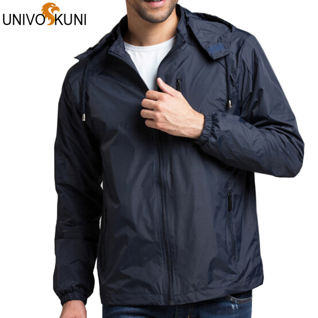 UNIVOS KUNI   4XL Spring Summer Mens Sportwear New Thin Military Windbreaker Outdoors Hooded Fashion Zipper Jackets Z2206