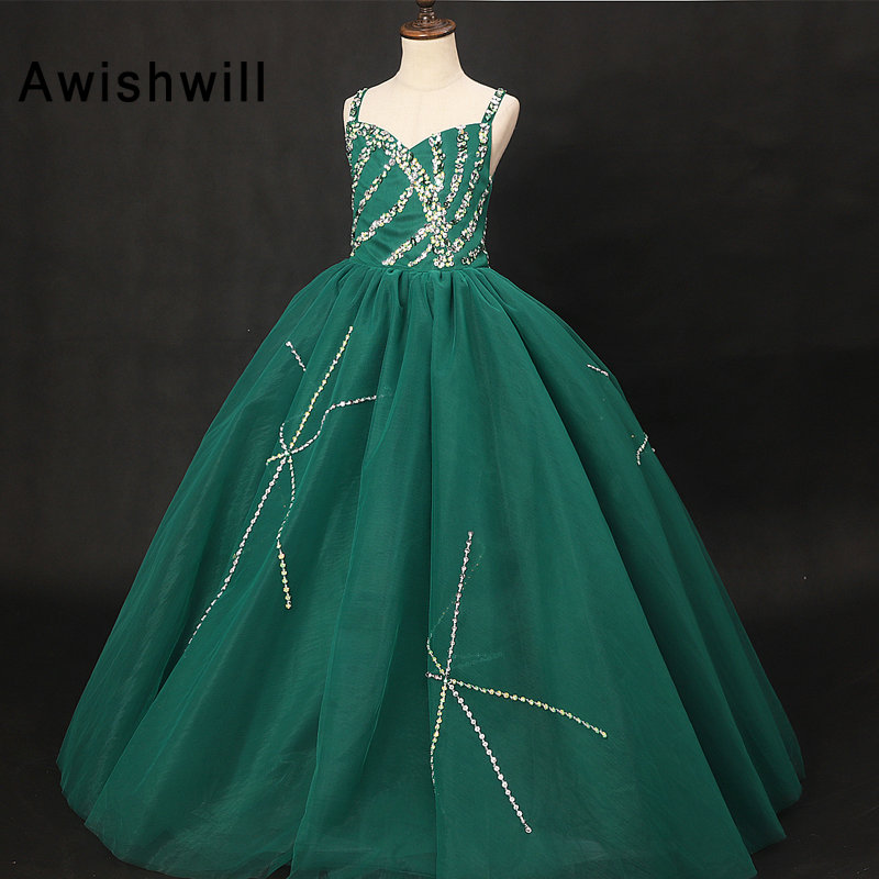 Vestido Daminha 2019   Flower     Girl     Dresses   For Wedding With Straps Tulle Beaded Kids Evening Ball Gowns Little   Girls   Pageant   Dress