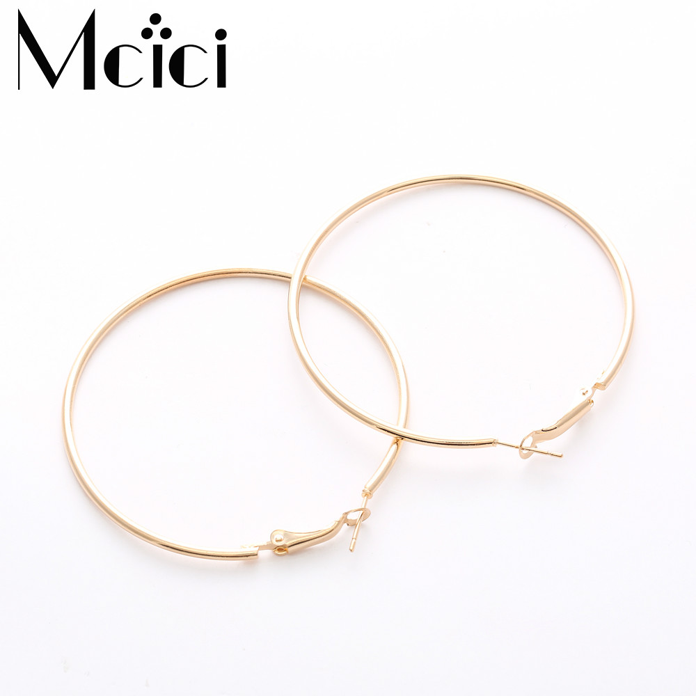 30-80mm Big Gold Hoop Earrings Basketball Brincos Round Silver Large Circle Party Earrings For Women Jewelry Bijoux Accessory