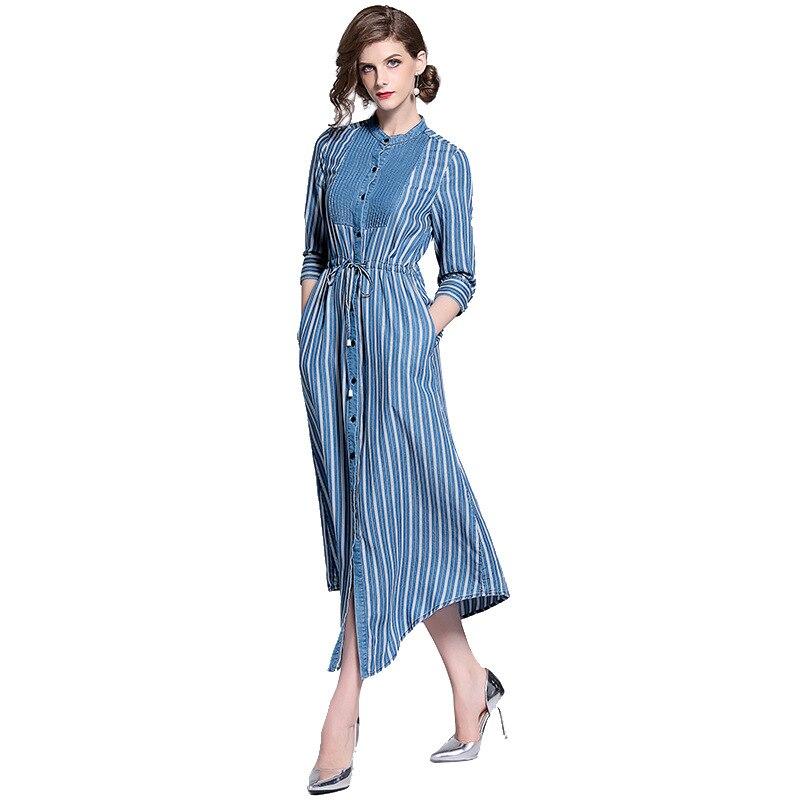 2019 automne nouvelles femmes robes col montant taille rayures verticales manches sept points soie robe en denim robe longue décontractée