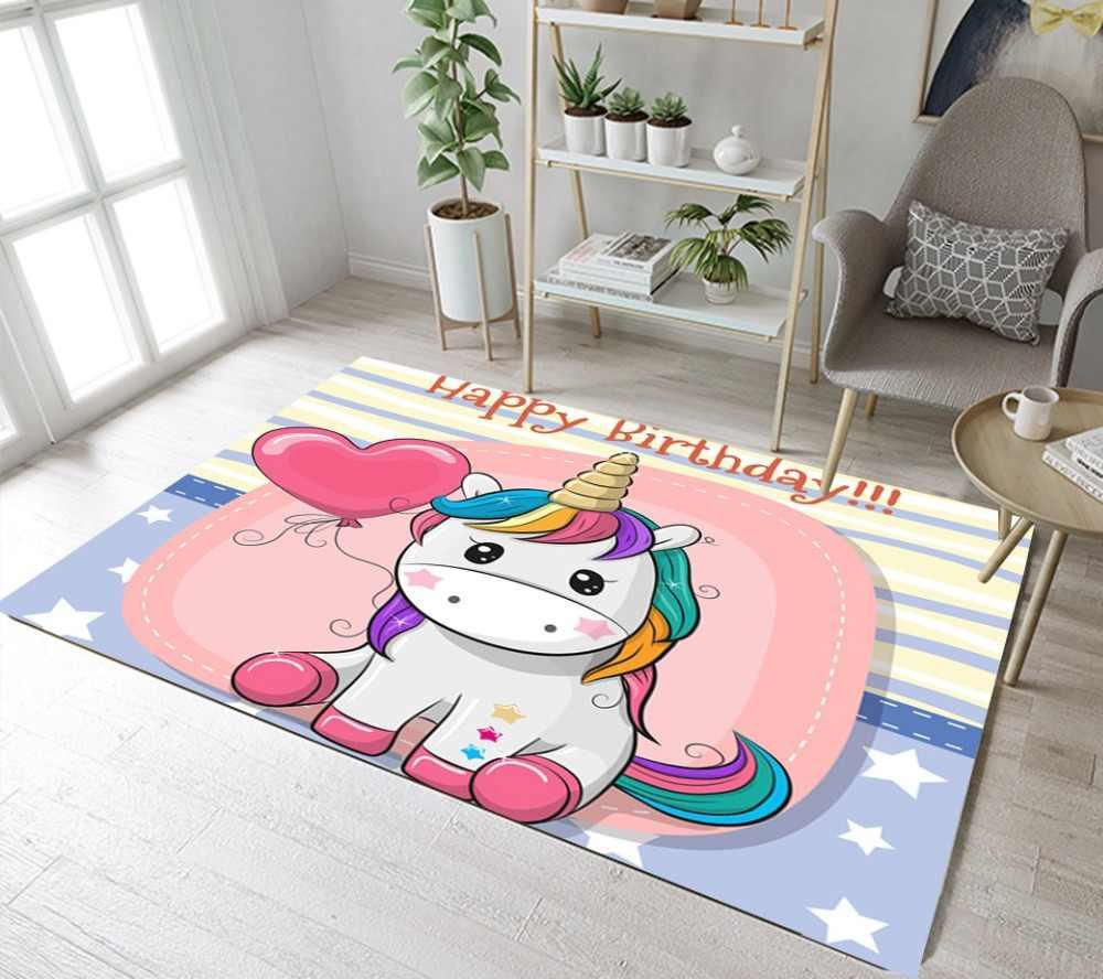 漫画ユニコーン誕生日や子供のためのカーペットベビーホームリビングルーム大寝室パーラー廊下キッチンドア床マット