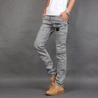 Casual Spliced Slim Fit Jeans Homme 2017 Patchwork Denim Broek Pocket Ontwerp Fashion Light Grey Straight Skinny Jeans Voor Mannen