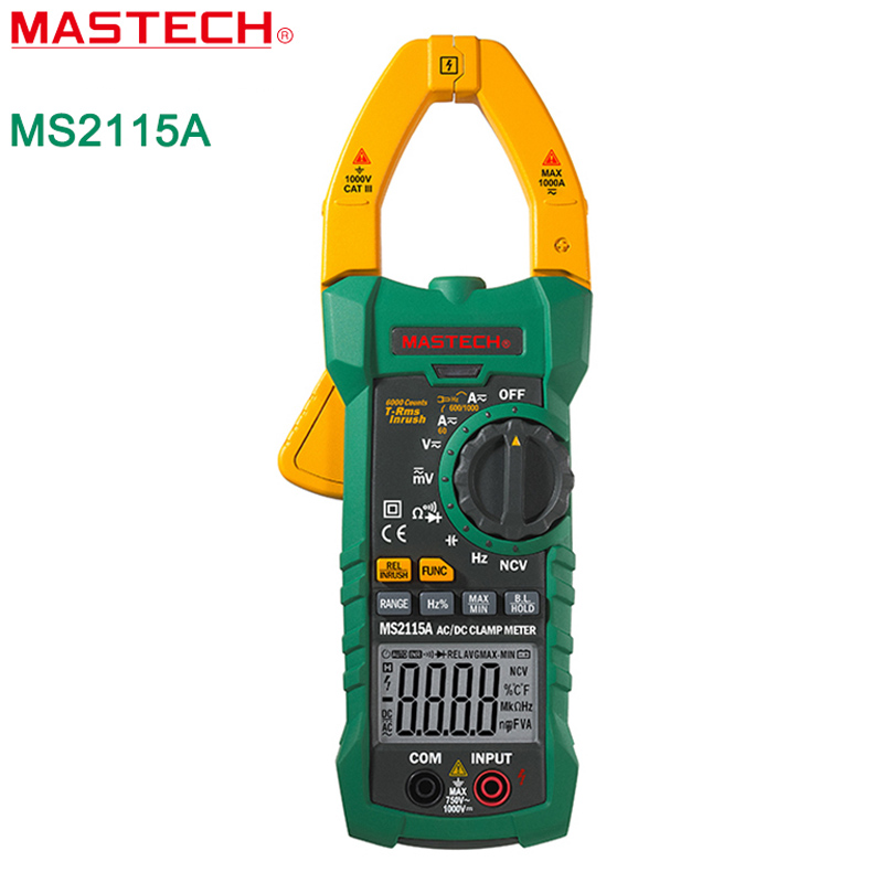 Mastech MS2115A 6000 Count True RMS Digital Clamp Meter AC/DC Voltage Current Tester with INRUSH and NCV Measurement mastech ms2108 t rms ac dc auto rg clamp meter tester max hold backlight inrush vs free shipping