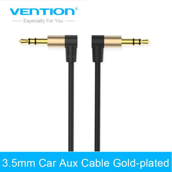 цена Vention Audio Jack 3.5mm Aux Cable Male to Male 90 Degree Angle Round Audio Cable for Car Headphone MP3/4