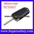 Frete Grátis (1 pcs) de Excelente Qualidade 2 Botões Virar Chave Remoto com Chip de PCFf7946 Para Opel Vectra C 2003-2008