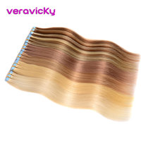 Veravicky Remy Skin Weft Human Hair Extensions Tape in Extension Natural Real Hair Double Sided Tape Adhesive Hair Extension