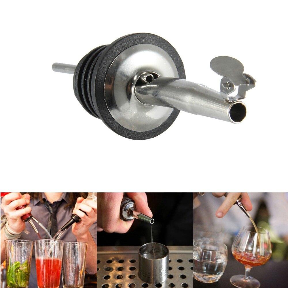 2pcs Liquor Spirit Pourer Flow Wine Olive Oil Pour Spout Dispenser Bottle Stopper Barware Bar Tool Stainless Steel