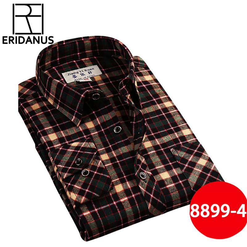 Brand Men's Casual Shirts 2017 New Spring Fashion Slim Fit Long Sleeve Male Plaid Cotton Dress Social Shirts Plus Size 3XL X408