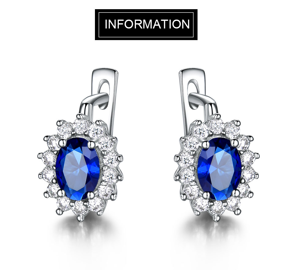 UMCHO Solid 925 Sterling Silver Gemstone Clip Earrings for Women Blue Sapphire Fine Jewelry Wedding Engagement Valentine's Gift