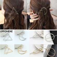 New Fashion Women Girls Hair Accessories Gold/Silver Plated Metal Triangle Circle Moon Hair Clips Metal Circle Hairpins Holder