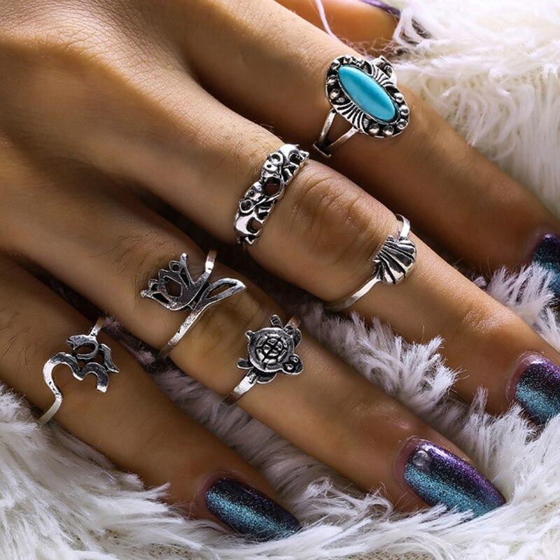 6pcs/set Bohemian Mini Rings Fashion Animal Tortoise Shell Yoga Symbol Elephant Crown Charms Knuckles Rings Vintage Jewelry Gift