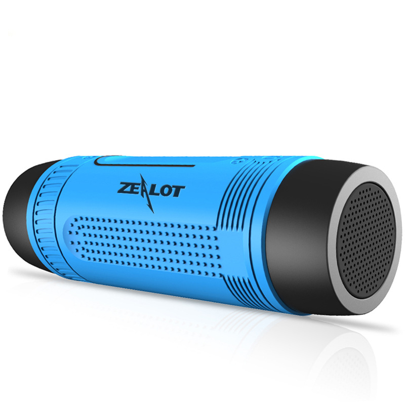 Zealot S1 Portable Waterproof Bluetooth Speaker Outdoor Wireless Speaker With LED Flashlight Support TF FM Radio