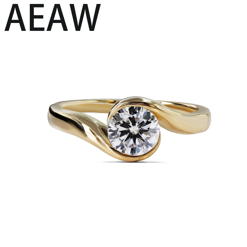 AEAW Solid 14K Yellow White Gold 0 5 Moissanite Round Cut Engagement Ring Bridal Wedding Jewelry