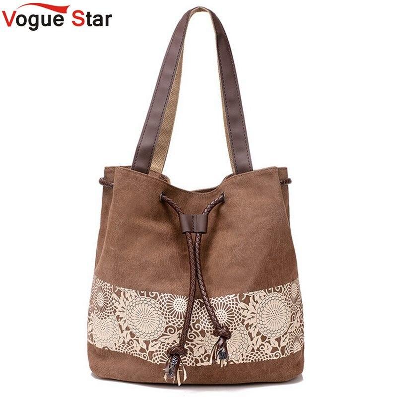 Vogue Star 2017 canvas bag shoulder bags high quality purse women handbag bucket flower printing ladies designer bags LA242