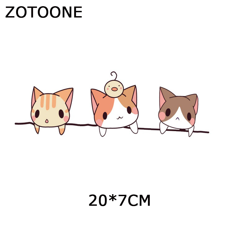ZOTOONE Cartoon Animals Patches for Clothes Diy Cat Decors on Clothing Creative Iron on Transfers Stickers Appliques for Garment in Patches from Home Garden