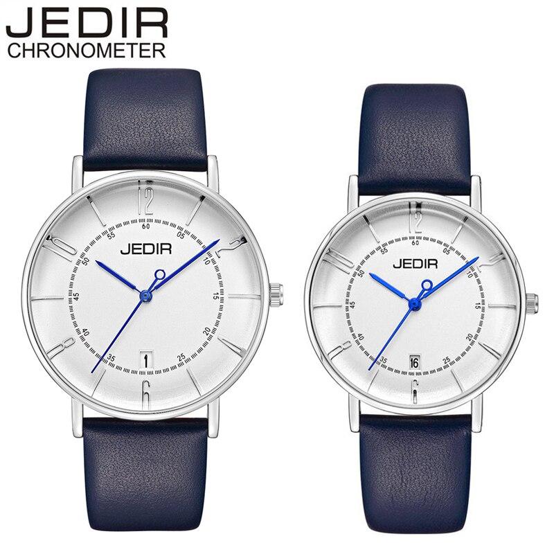 JEDIR Women Dress Watches Luxury Lovers Couple Watches Men Date Waterproof Women Leather Quartz Wristwatch Montre Homme 6014
