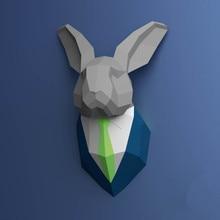 30min Complete DIY 3D Suited Rabbit Bunny Paper Sculpture Papercraft Puzzle Toy Educational Folding Model Christmas